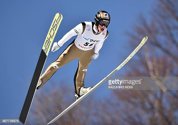 Roman Koudelka of the Czech Republic soars in the air during the first round of the men's skijumping World Cup competition in Sapporo Hokkaido...