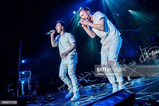 Roman Lochman and his twin brother Heiko of Die Lochis perform live on stage during a concert at Columbiahalle on January 4 2017 in Berlin Germany