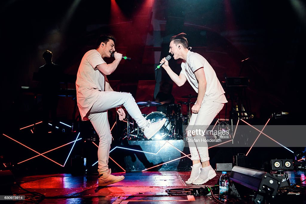 Roman Lochman and his twin brother Heiko of Die Lochis perform live on stage during a concert at Columbiahalle on January 4, 2017 in Berlin, Germany.