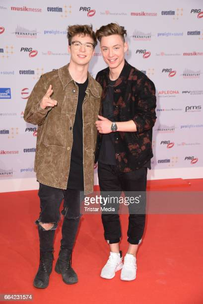 Roman Lochmann and his brother Heiko Lochmann alias 'Die Lochis' attend the LEA PRG Live Entertainment Award 2017 at Festhalle Frankfurt on April 3...