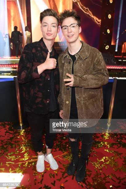 Roman Lochmann and his brother Heiko Lochmann alias 'Die Lochis' during the LEA PRG Live Entertainment Award 2017 After Show Party at Festhalle...