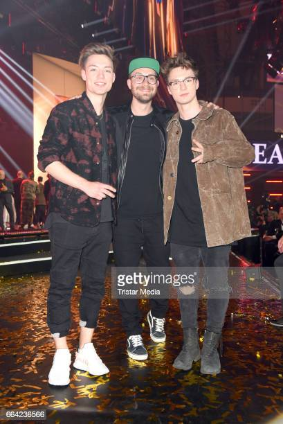 Roman Lochmann Heiko Lochmann alias 'Die Lochis' and Mark Forster during the LEA PRG Live Entertainment Award 2017 After Show Party at Festhalle...