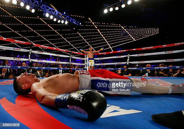 Roman Martinez is knocked out as Vasyl Lomachenko raises his arms in the neutral corner during the fifth round of their Junior Lightweight WBO World...
