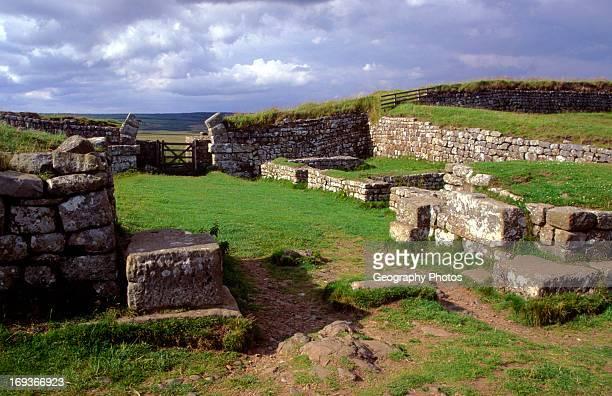 Roman mile castle border checkpoint near Housesteads Northumberland England