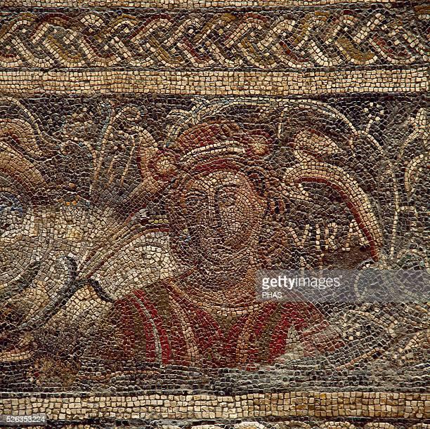 Roman mosaic Female figure depicting the Summer 4th century It comes from Villa Las Tiendas Merida National Museum of Roman Art Merida Spain