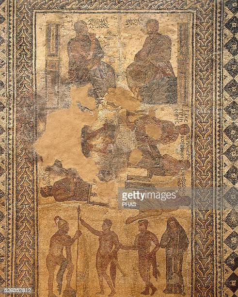Roman mosaic of The Seven Sages Villa of Las Tiendas 4th C Merida Spain National Museum of Roman Art Merida Spain