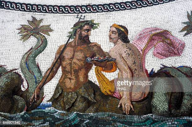 Roman mosaic replica of the Baths of Ocriculum Detail of a Triton and a Nereid Small Hermitage Pavilion Room The State Hermitage Museum Saint...