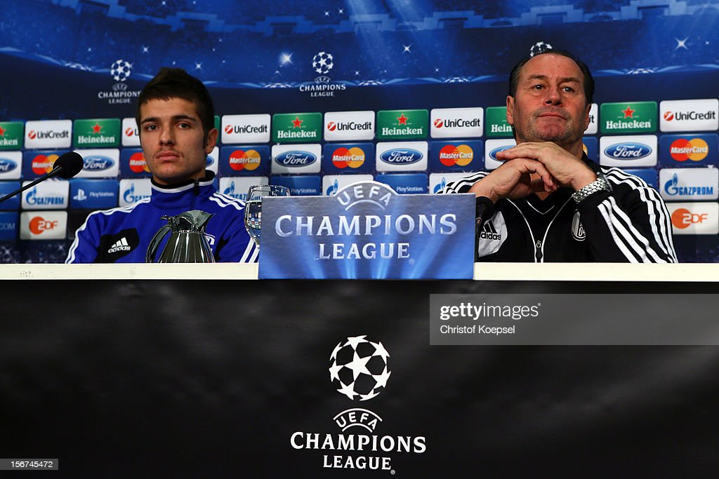 Roman Neustaedter and head coach Huub Stevens of Schalke 04 attend the press conference at Veltins Arena ahead of the UEFA Champions League group B match between FC Schalke 04 and Olympiakos Piraeus on November 21, 2012 in Gelsenkirchen, Germany.
