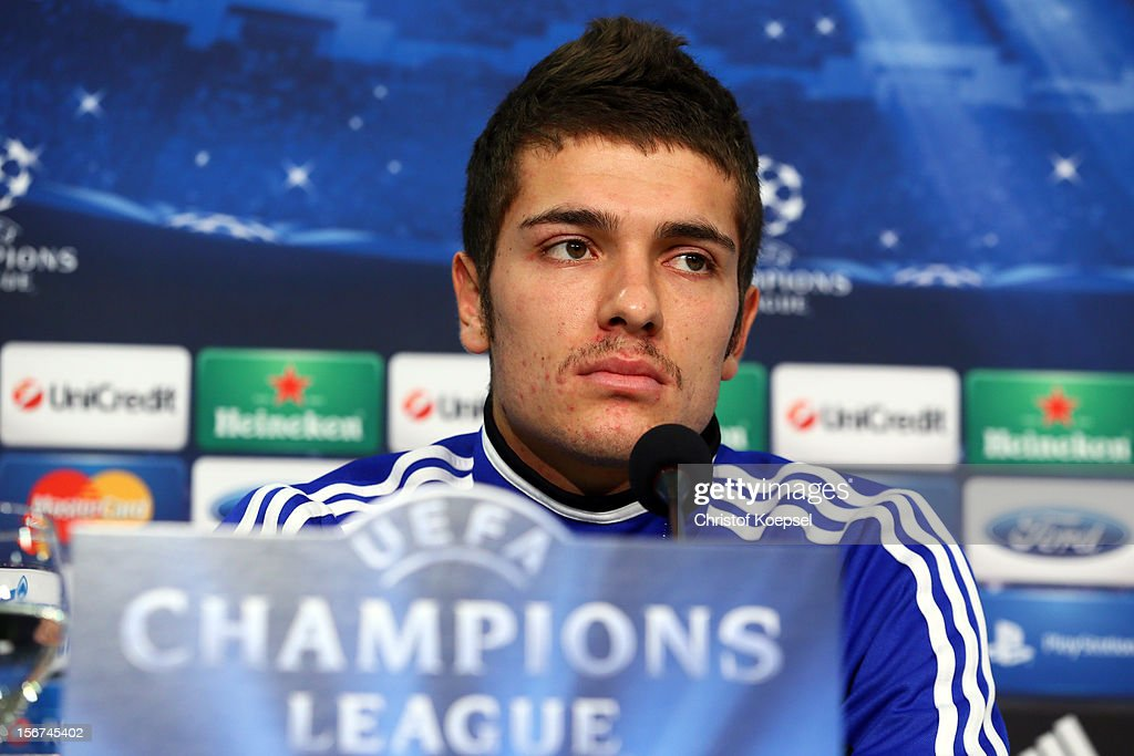 Roman Neustaedter of Schalke 04 attends the press conference at Veltins Arena ahead of the UEFA Champions League group B match between FC Schalke 04 and Olympiakos Piraeus on November 21, 2012 in Gelsenkirchen, Germany.