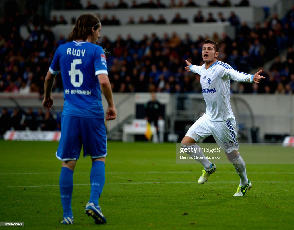 Roman Neustaedter of Schalke celebrates after scoring his team's first goal during the Bundesliga match between TSG 1899 Hoffenheim and FC Schalke 04 at Rhein-Neckar-Arena on November 3, 2012 in Sinsheim, Germany.