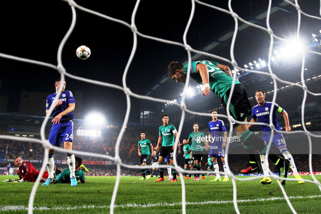 Roman Neustaedter of Schalke clears the ball off his own goal line during the UEFA Champions League Group G match between Chelsea and FC Schalke 04 on September 17, 2014 in London, United Kingdom.