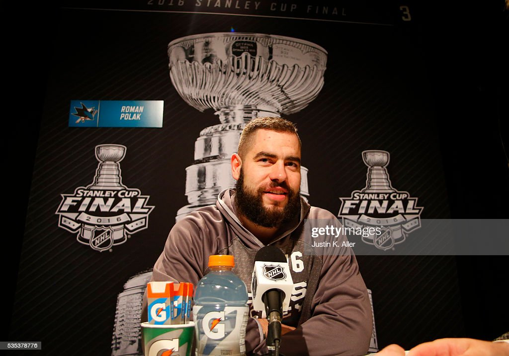 Roman Polak #46 of the San Jose Sharks addresses the media during the NHL Stanley Cup Final Media Day at Consol Energy Center on May 29, 2016 in Pittsburgh, Pennsylvania.