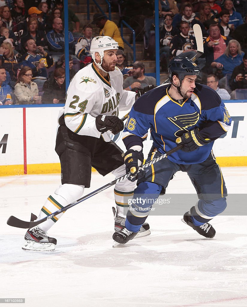 <a gi-track='captionPersonalityLinkClicked' href=/galleries/search?phrase=Roman+Polak&family=editorial&specificpeople=2109482 ng-click='$event.stopPropagation()'>Roman Polak</a> #46 of the St. Louis Blues skates against <a gi-track='captionPersonalityLinkClicked' href=/galleries/search?phrase=Eric+Nystrom&family=editorial&specificpeople=2209813 ng-click='$event.stopPropagation()'>Eric Nystrom</a> #24 of the Dallas Stars in an NHL game on April 19, 2013 at Scottrade Center in St. Louis, Missouri.