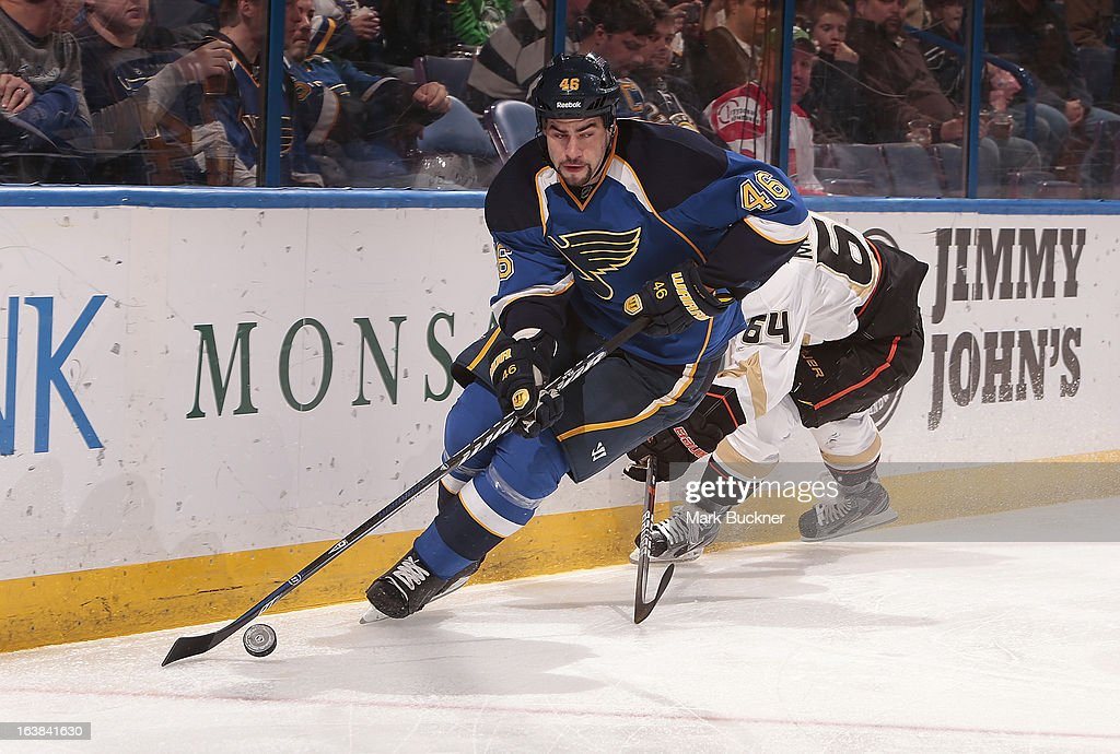 <a gi-track='captionPersonalityLinkClicked' href=/galleries/search?phrase=Roman+Polak&family=editorial&specificpeople=2109482 ng-click='$event.stopPropagation()'>Roman Polak</a> #46 of the St. Louis Blues skates against the Anaheim Ducks in an NHL game on March 16, 2013 at Scottrade Center in St. Louis, Missouri.