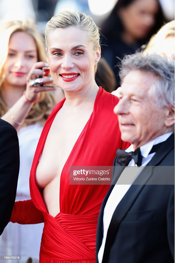 Roman Polanski and Emmanuelle Seigner arrive at 'Venus In Fur' Premiere during the 66th Annual Cannes Film Festival at Grand Theatre Lumiere on May 25, 2013 in Cannes, France.