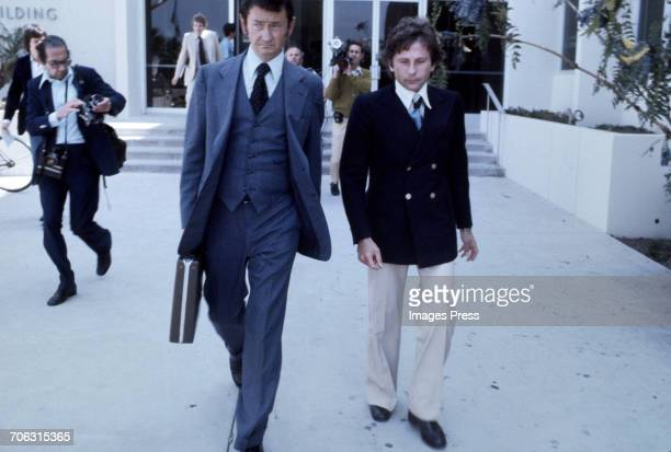 Roman Polanski and his lawyer Douglas Dillon leaving the Santa Monica Courthouse circa 1977 in Santa Monica California