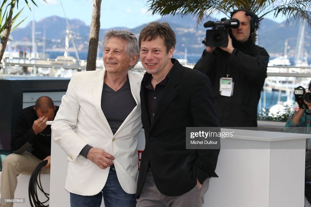 Roman Polanski and Mathieu Amalric attend the 'La Venus A La Fourrure' Photocall during the 66th Annual Cannes Film Festival on May 25, 2013 in Cannes, France.