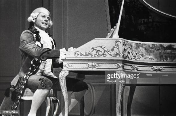 Roman Polanski as Mozart during a dress rehearsal for the play 'Amadeus' by Peter Shaffer at the Na Woli Theatre Warsaw Poland June 1981 Polanski...