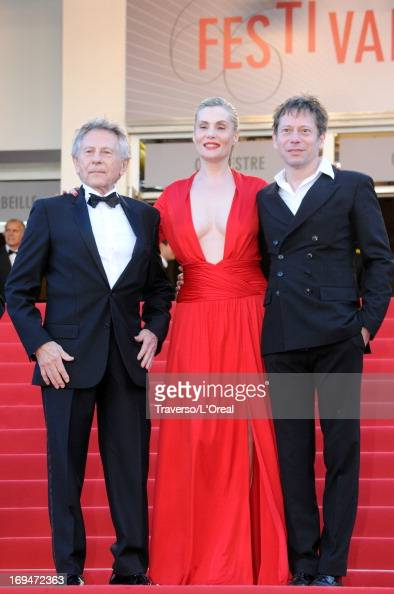 Roman Polanski Emmanuelle Seigner and Mathieu Amalric arrive at 'Venus In Fur' Premiere during the 66th Annual Cannes Film Festival at Grand Theatre...