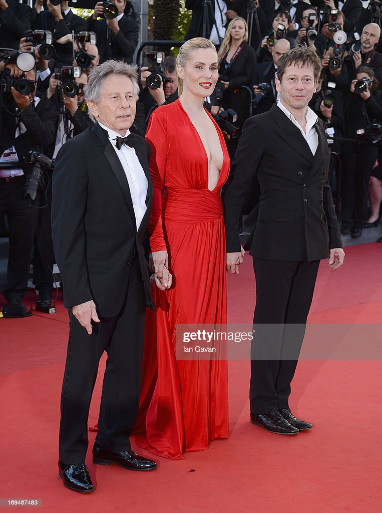 <a gi-track='captionPersonalityLinkClicked' href=/galleries/search?phrase=Roman+Polanski&family=editorial&specificpeople=207150 ng-click='$event.stopPropagation()'>Roman Polanski</a>, <a gi-track='captionPersonalityLinkClicked' href=/galleries/search?phrase=Emmanuelle+Seigner&family=editorial&specificpeople=240590 ng-click='$event.stopPropagation()'>Emmanuelle Seigner</a> and <a gi-track='captionPersonalityLinkClicked' href=/galleries/search?phrase=Mathieu+Amalric&family=editorial&specificpeople=612979 ng-click='$event.stopPropagation()'>Mathieu Amalric</a> arrives at 'Venus In Fur' Premiere during the 66th Annual Cannes Film Festival at Grand Theatre Lumiere on May 25, 2013 in Cannes, France.
