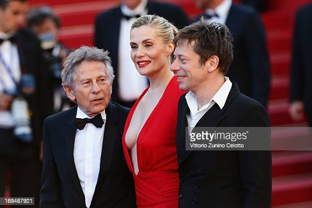 Roman Polanski Emmanuelle Seigner and Mathieu Amalric arrives at 'Venus In Fur' Premiere during the 66th Annual Cannes Film Festival at Grand Theatre...