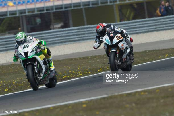 Roman Ramos of Spain and TEAM GOELEVEN leads Jordi Torres of Spain and Althea BMW Racing Team during the race 2 during the FIM World Superbike...