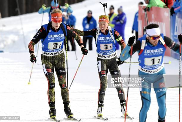 Roman Rees and Laura Dahlmeier of the third placed team Germany compete during the single mixed relay of the IBU Biathlon World Cup in Kontiolahti...