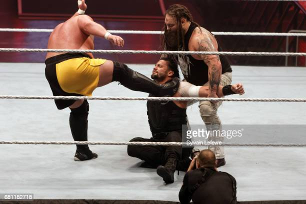 Roman Reigns fights against Bray and Samoa Joe during WWE Live 2017 at Zenith Arena on May 9 2017 in Lille France