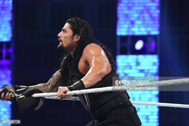 Roman Reigns looks on during the WWE Smackdown on September 1 2015 at the American Airlines Arena in Miami Florida