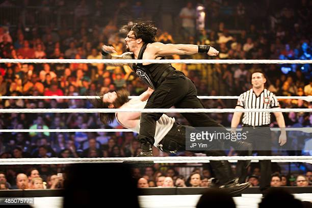 Roman Reigns on the attack at the WWE SummerSlam 2015 at Barclays Center of Brooklyn on August 23 2015 in New York City