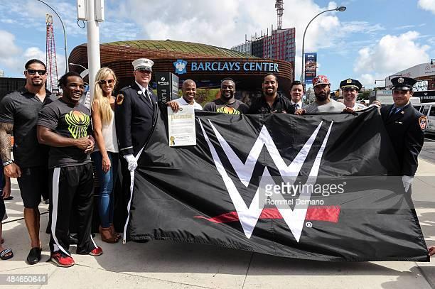 Roman Reigns WWE Xavier Woods WWE Superstar Summer Rae WWE Diva Eric L Adams Brooklyn Borough President Big E WWE Superstar Jimmy and Jey Uso WWE...