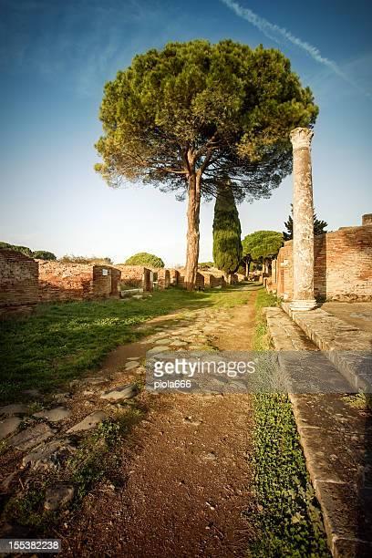 Roman strada al sito archeologico di Ostia Antica