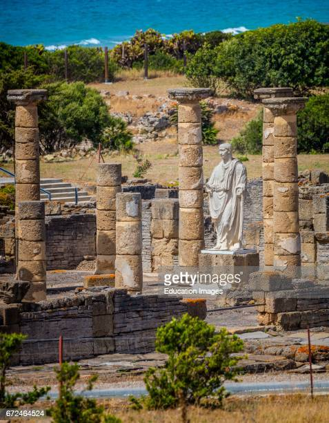 Roman ruins of Baelo Claudia at Bolonia Cadiz Province Costa de la Luz Spain Statue of the Emperor Trajan in the Basilica beside the Forum