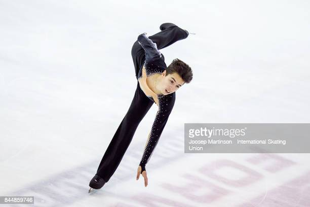 Roman Savosin of Russia competes in the Junior Men Free Skating during day 3 of the Riga Cup ISU Junior Grand Prix of Figure Skating at Volvo Sports...