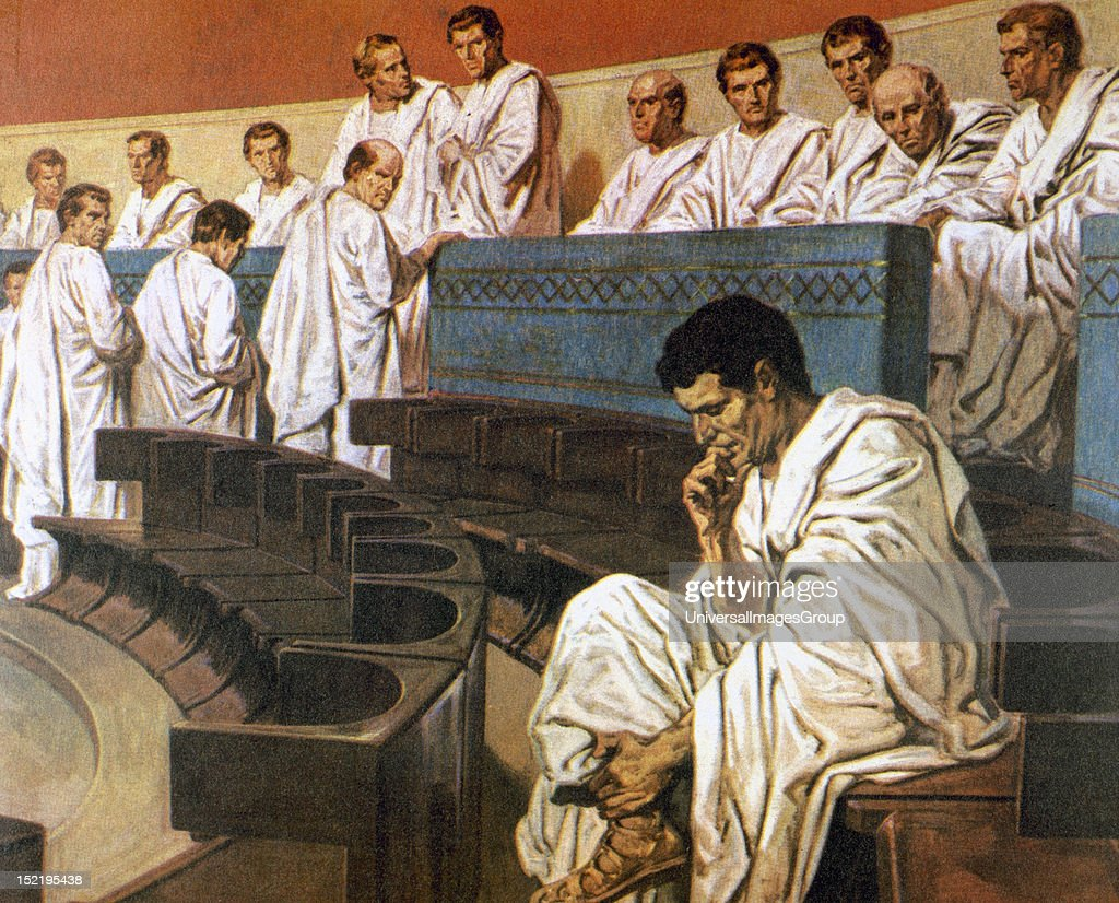 Roman Senate Catiline Detail 1st century Colored engraving