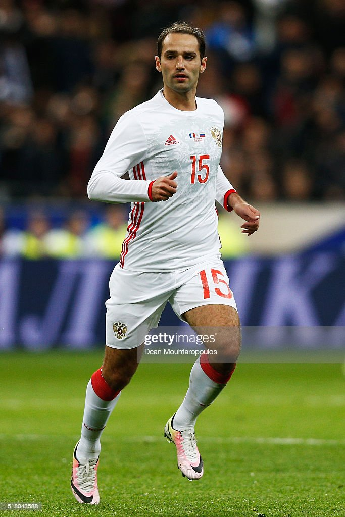 <a gi-track='captionPersonalityLinkClicked' href=/galleries/search?phrase=Roman+Shirokov&family=editorial&specificpeople=2348160 ng-click='$event.stopPropagation()'>Roman Shirokov</a> of Russia in action during the International Friendly match between France and Russia held at Stade de France on March 29, 2016 in Paris, France.