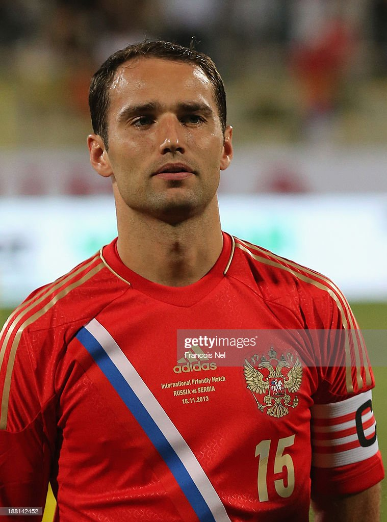 <a gi-track='captionPersonalityLinkClicked' href=/galleries/search?phrase=Roman+Shirokov&family=editorial&specificpeople=2348160 ng-click='$event.stopPropagation()'>Roman Shirokov</a> of Russia prior to the International Football match between Serbia and Russia at the Zabeel Staduim on November 15, 2013 in Dubai, United Arab Emirates.