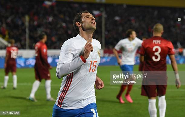 Roman Shirokov of Russia seen as celebrating after scoring a goal for his team during the friendly match between Russia and Portugal at Kuban Stadium...