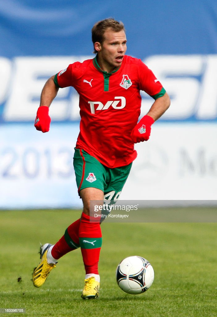 Roman Shishkin of FC Lokomotiv Moscow in action during the Russian Premier League match between FC Dynamo Moscow and FC Lokomotiv Moscow at the Arena Khimki Stadium on March 09, 2013 in Khimki, Russia.