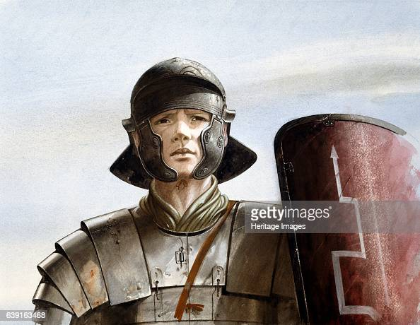 Roman soldier c1st century Reconstruction drawing of Roman soldier at Maiden Castle an Iron Age hill fort in the English county of Dorset In about...