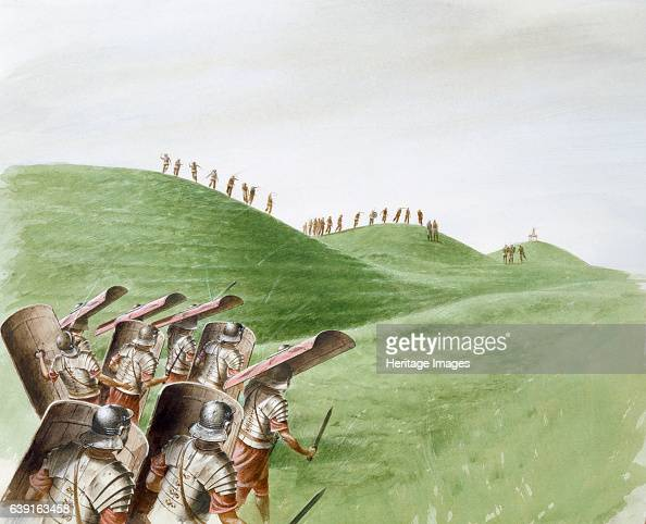 Roman soldiers in battle with Celtic tribes c1st century Reconstruction drawing by Paul Birkbeck of Roman soldiers in battle with Celtic tribes at...