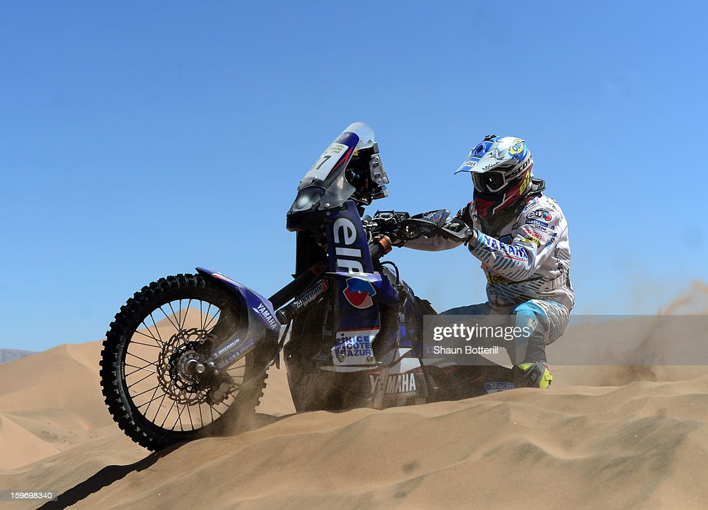 Roman Souvvignet of Casteu Adventure Rally Team competes in stage 13 from Copiapo to La Serena during the 2013 Dakar Rally on January 18 in Copiapo, Argentina.