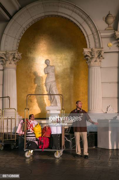 Roman statue is located in the outdoor car valet at Caesars Palace Hotel Casino as viewed on May 29 2017 in Las Vegas Nevada Tourism in America's...