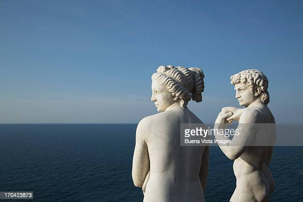 Roman statues replicas on the Amalfi Coast