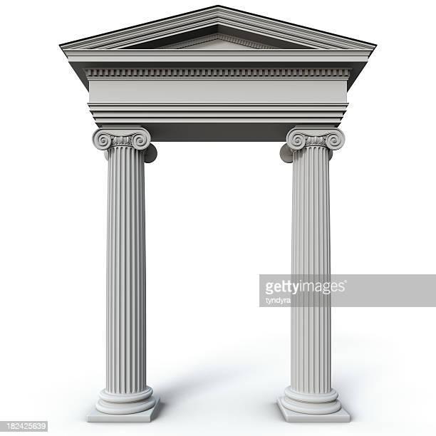 Roman style columns on a white background
