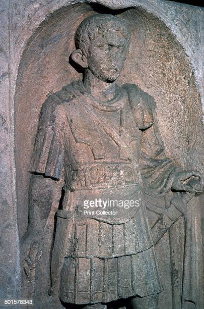 Roman tombstone of Marcus Favonius Facilis centurion of the 20th Legion and of the Pollian tribe in north Italy from Colchester in Essex He has a...