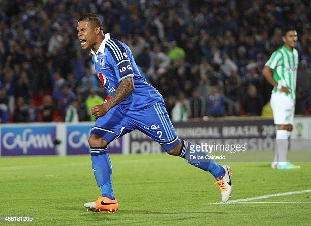 Roman Torres of Millonarios celebrates a scored goal against Atletico Nacional during a match between Millonarios and Atletico Nacional as part of...