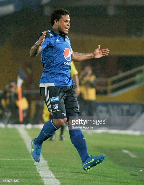 Roman Torres of Millonarios celebrates a scoring goal during a match between Millonarios and Cortulua as part of fifth round of Liga Aguila I 2015 at...