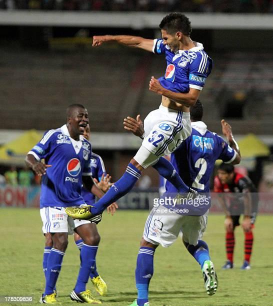 Roman Torres of Millonarios celebrates his goal against Deportivo Cucuta during a match between Cucuta Deportivo and Millonarios as part of Liga...