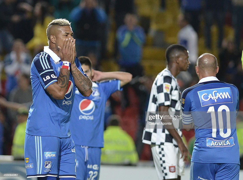 Roman Torres of Millonarios laments fail a goal during a match between Millonarios and Chico as part of Liga Postobon 2014 - II at Nemesio Camacho El Campín Stadium on August 02, 2014 in Bogota, Colombia.